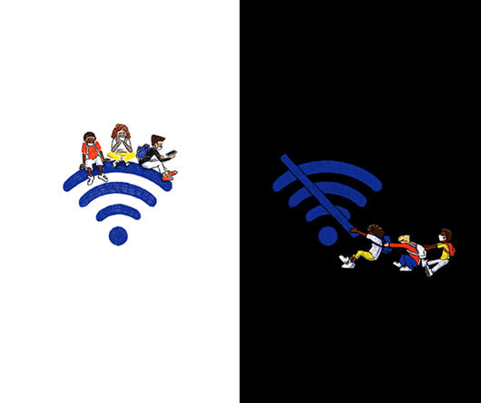 an illustration depicting students sitting comfortably on top of a WiFi symbol on the left side, while other students are struggling with a WiFi not working symbol on the right side